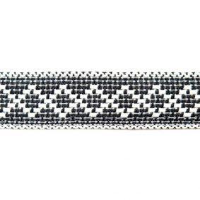 Bandă decorativă bumbac cu romburi - față - negru-alb - craftup.ro