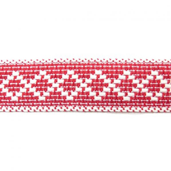 Bandă decorativă bumbac cu romburi - față - roșu-alb - craftup.ro
