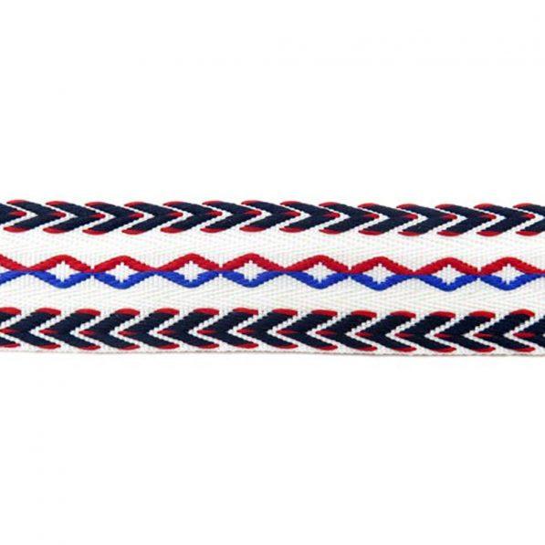 Bandă decorativă bumbac cu romburi și săgeți - față - roșu-albastru - craftup.ro