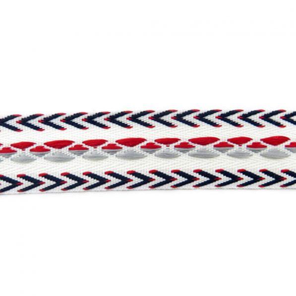 Bandă decorativă bumbac cu romburi și săgeți - spate - roșu-alb - craftup.ro