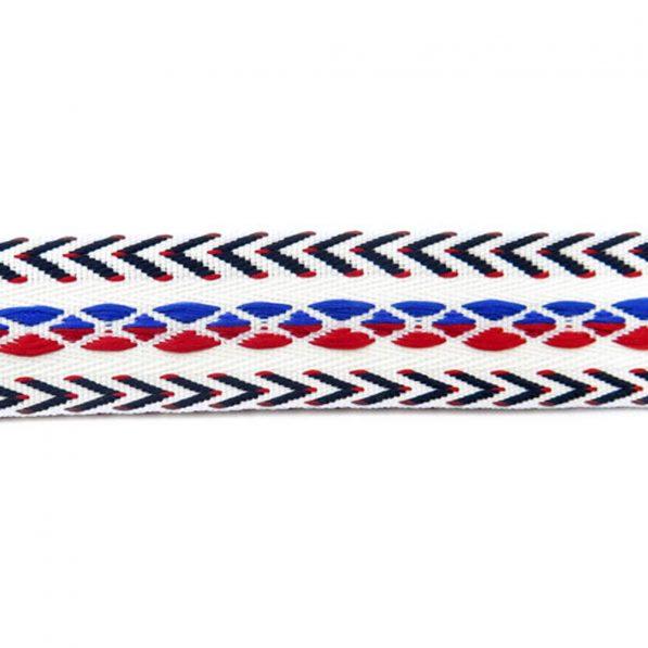 Banda decorativa bumbac cu romburi si sageti spate rosu albastru craftup.ro