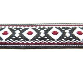 Banda decorativa bumbac cu romburi albe si interior rosu - 2 - craftup.ro