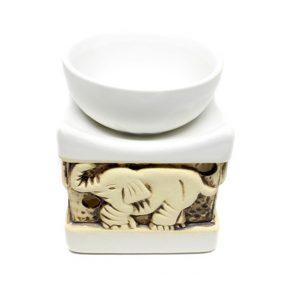 Vas aromaterapie patrat, mare, cu elefanti - alb-galben mat - craftup.ro