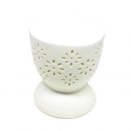 Vas aromaterapie rotund, model floral - alb - craftup.ro