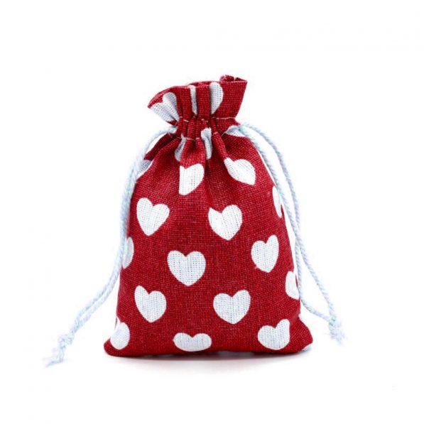 Săculeți textil cu inimi - vișiniu - craftup.ro