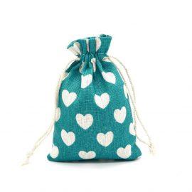 Săculeți textil cu inimii - turcoaz - craftup.ro