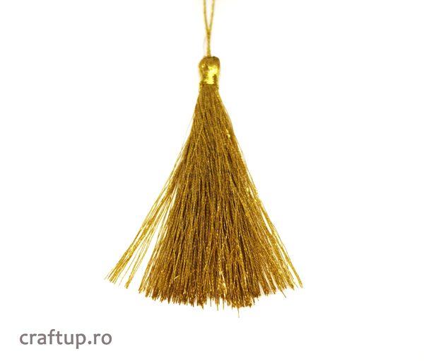 Ciucuri textil strălucitori 12cm - auriu - craftup.ro