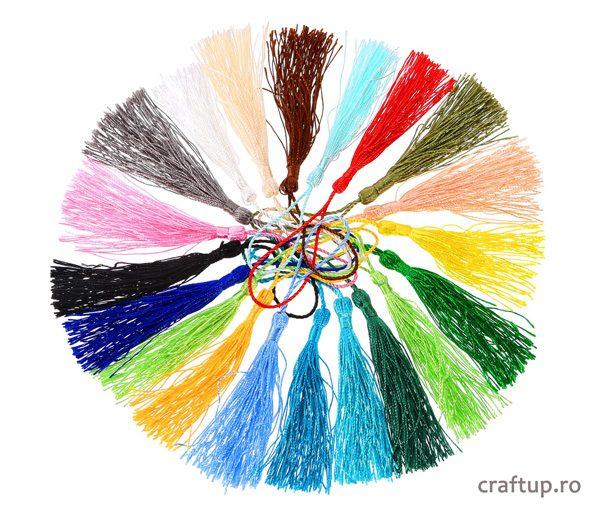 Ciucuri textil cu agățătoare 12cm - multicolor - craftup.ro