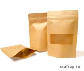 Pungi stand-up, din hârtie Kraft, cu fereastră și fermoar 1 - craftup.ro