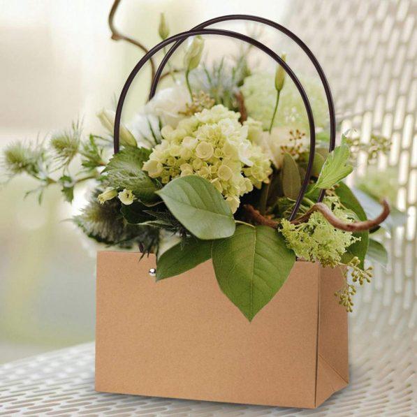 Pungi Kraft cu mâner pentru flori dreptunghi - maro 2 - craftup.ro