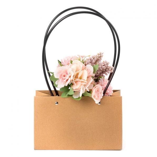 Pungi Kraft cu mâner pentru flori dreptunghi - maro 3 - craftup.ro