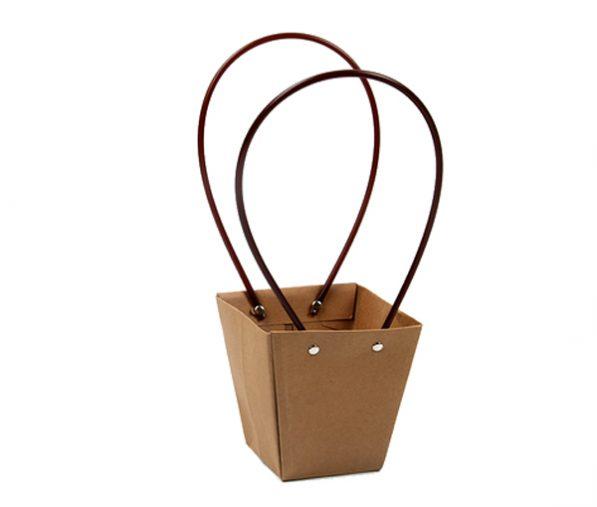 Pungi kraft cu mâner pentru flori - trapez 2 - craftup.ro