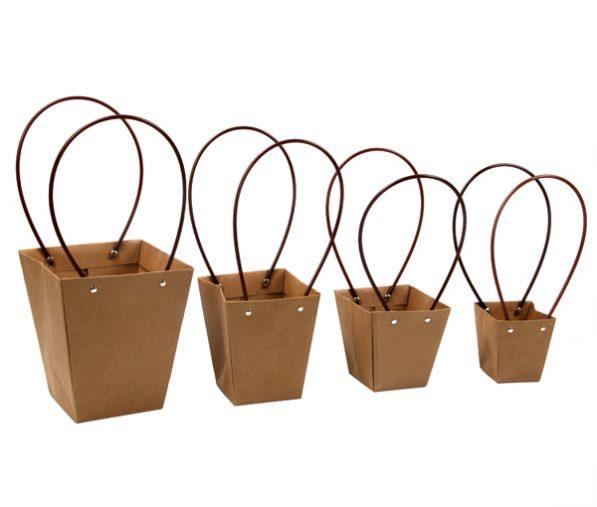Pungi kraft cu mâner pentru flori - trapez 3 - craftup.ro