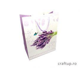 Pungi cadou din hârtie, model buchet lavandă - craftup.ro