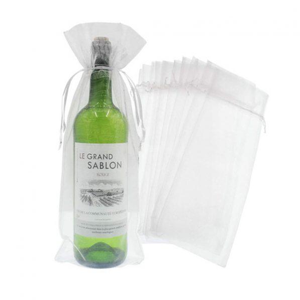 Săculeți organza dreptunghiulari pentru sticle - alb - craftup.ro