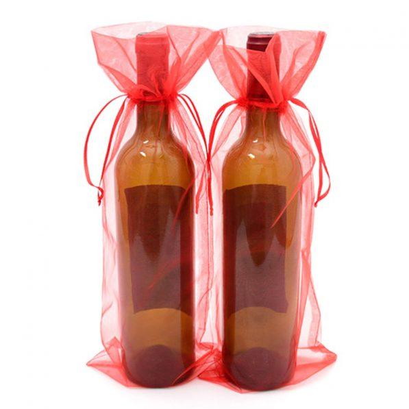 Săculeți organza dreptunghiulari pentru sticle - rosu - craftup.ro
