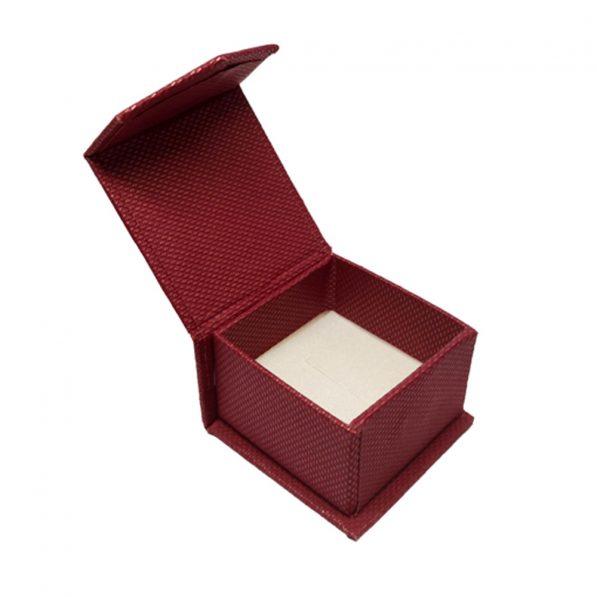 Cutie bijuterii mica cu clapeta pentru inel sau cercei - visiniu 2 - craftup.ro