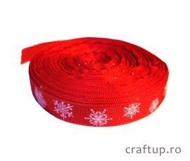 Bandă decorativă - Tafina 15mm - fulgi de nea - roșu - craftup.ro