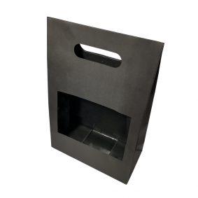 Cutii cu fereastră și mâner - negru - craftup.ro