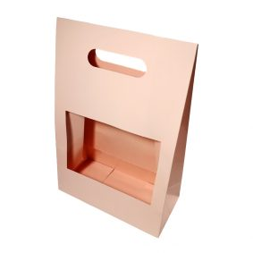 Cutii cu fereastră și mâner - roz - craftup.ro