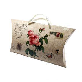 Cutii tip pernă cu mâner model vintage cu trandafiri - craftup.ro