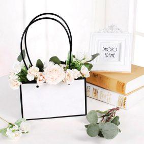 Pungi Kraft cu mâner pentru flori dreptunghi - alb-negru 1 - craftup.ro