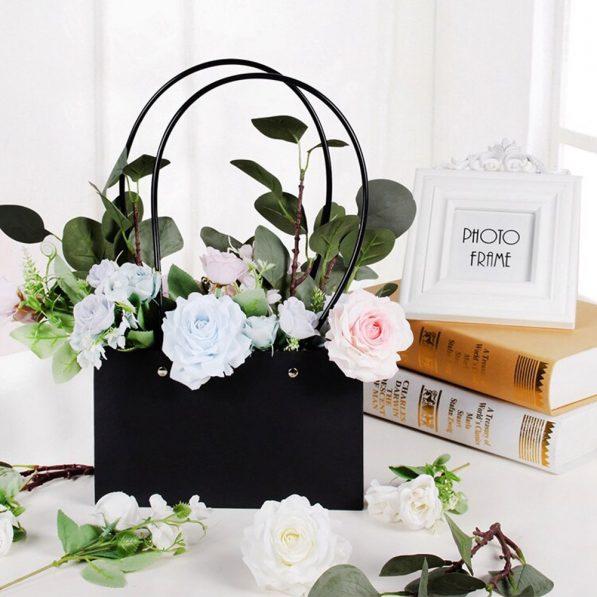 Pungi Kraft cu mâner pentru flori dreptunghi - negru 2 - craftup.ro