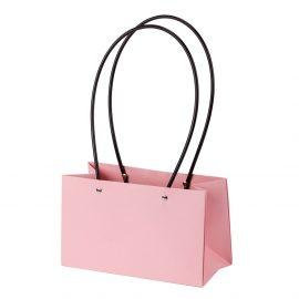 Pungi Kraft cu mâner pentru flori dreptunghi - roz 1 - craftup.ro