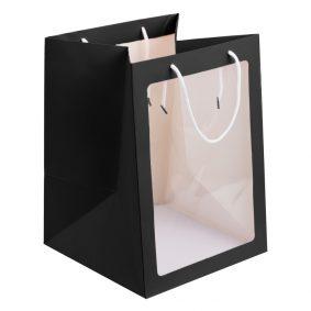 Pungi hârtie cu fereastră - negru a1 - craftup.ro