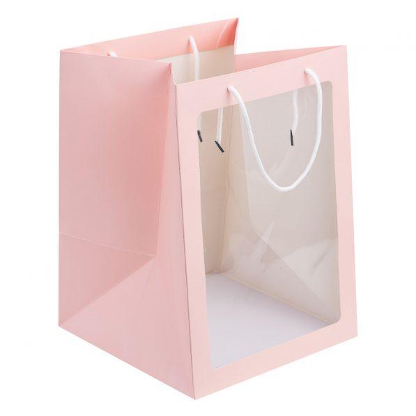 Pungi hârtie cu fereastră - roz a1 - craftup.ro