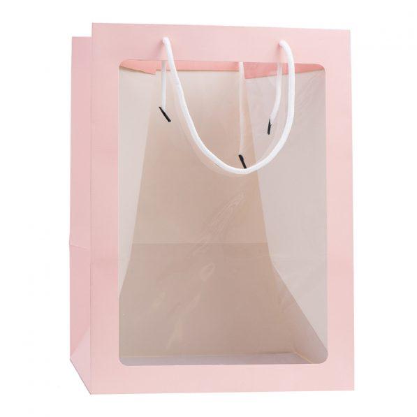 Pungi hârtie cu fereastră - roz a2 - craftup.ro