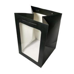 Pungi hârtie cu fereastră - negru - craftup.ro