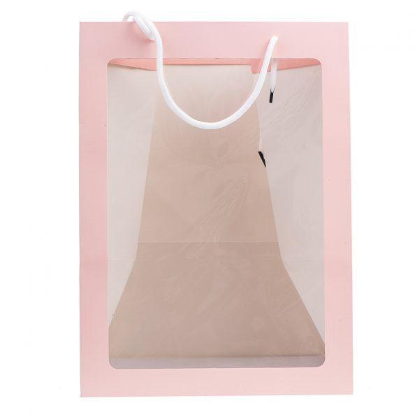 Pungi hârtie cu fereastră - roz a3 - craftup.ro