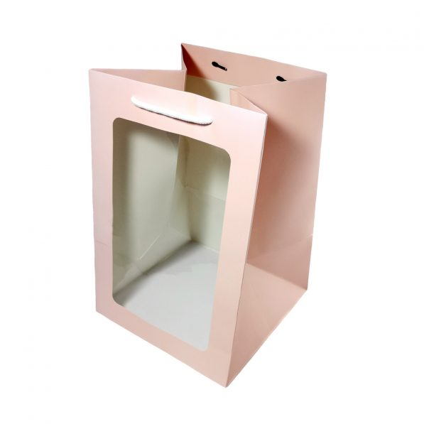 Pungi hârtie cu fereastră - roz - craftup.ro