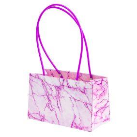 Sacoșe dreptunghiulare cu mâner de plastic - roz marmură a1 - craftup.ro