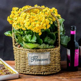 Coș împletit răchită rotund - Flowers c2 - craftup.ro