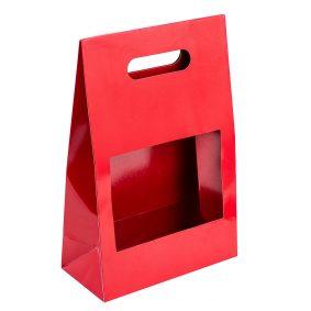 Cutii cu fereastră și mâner - roșu a1 - craftup.ro