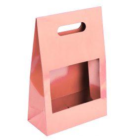 Cutii cu fereastră și mâner - roz a1 - craftup.ro