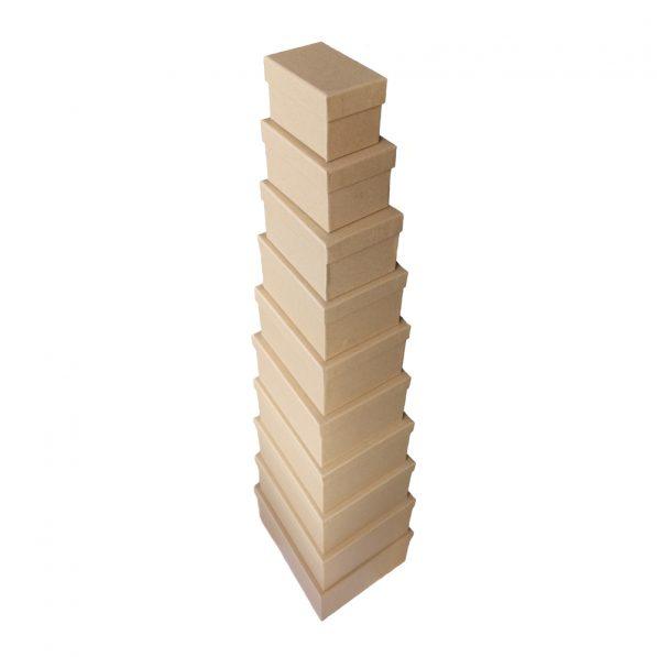Set 10 cutii kraft dreptunghiulare mărimi diferite 1 - craftup.ro
