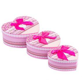 Set 3 cutii inimă cu fundă – roz a5 - craftup.ro