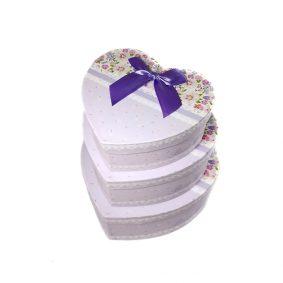 Set 3 cutii inimă cu fundă - mov 2 - craftup.ro