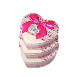 Set 3 cutii inimă cu fundă - roz 2 - craftup.ro