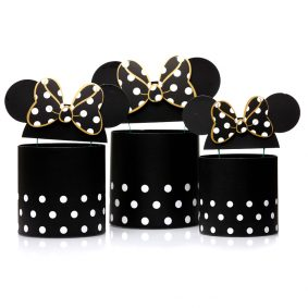 Set 3 cutii rotunde cu buline și urechi Minnie Mouse - negru 1
