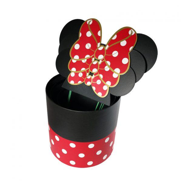 Set 3 cutii rotunde cu buline și urechi Minnie Mouse - negru-roșu - craftup.ro
