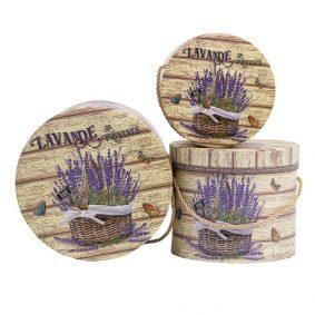 Set 3 cutii rotunde cu mâner - model coș lavandă a1 - craftup.ro