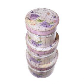 Set 3 cutii rotunde cu mâner model buchet lavandă 1 - craftup.ro