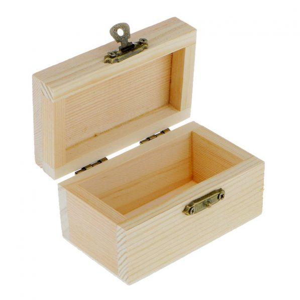 Cutie dreptunghiulară din lemn cu capac 5,4x9x5cm 2