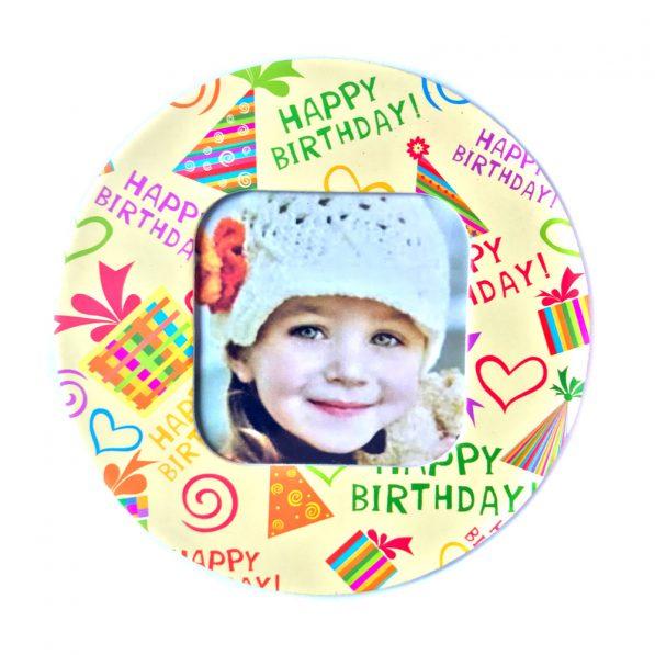 Magnet rotund inserție foto - model Happy Birthday