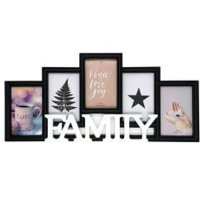 Ramă foto colaj neagră 5 poze - model Family 1