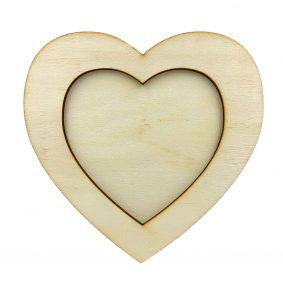 Ramă foto lemn - inimă 1
